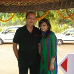 Panvi Podder in a green and blue dress and Joygopal Podder