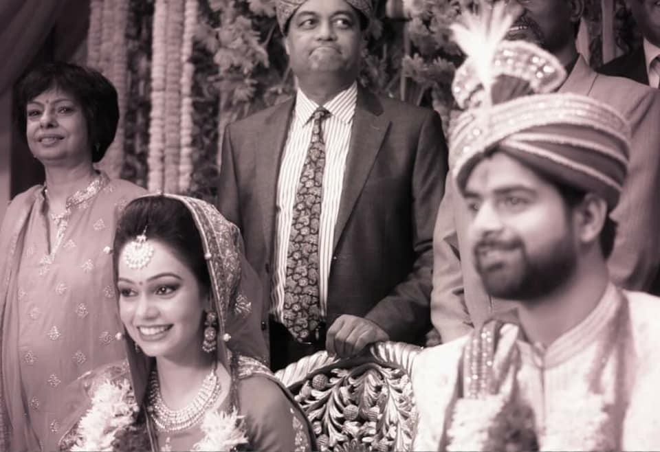 Happy bridegroom