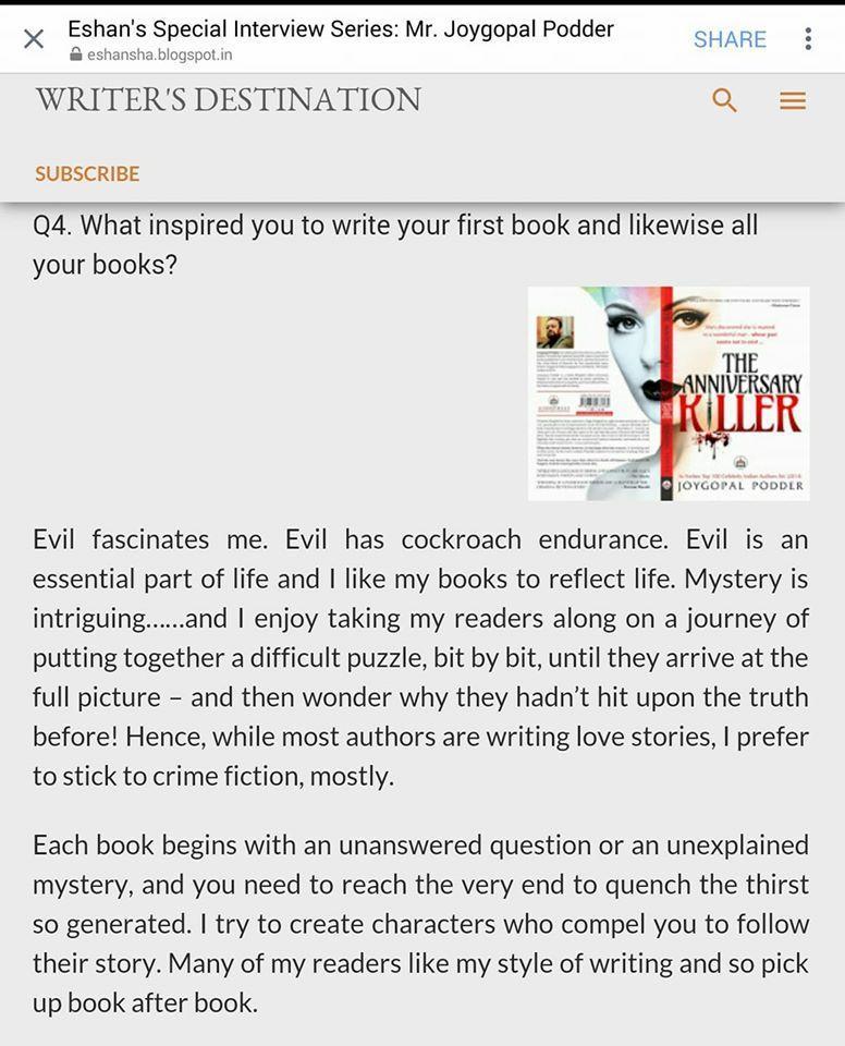 Inspiration to write books