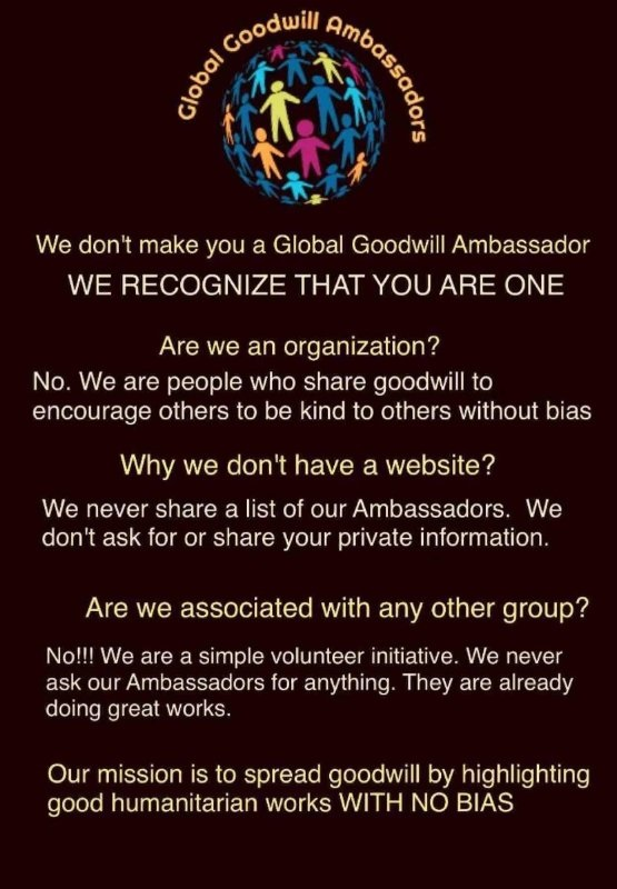We recognize you are a Global Goodwill Ambassador - Richard DiPilla - Founder of Global Goodwill Ambassadors